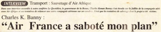 Charles Konan Banny : Air France a saboté mon plan