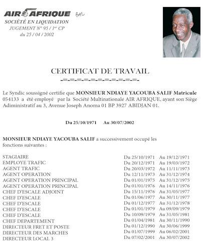 Certificat de travail N'Diaye Yacouba Salif